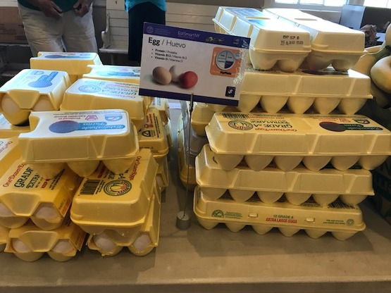 display of eggs in cartons