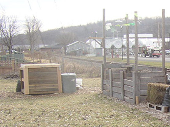 First bay of (eventual) 3-bin unit at the Ithaca Community Gardens