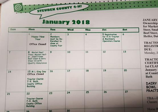 2017-2018 4-H Calendar