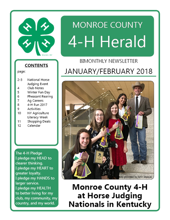 2018 January/February 4-H Newsletter (cover)