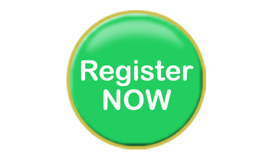 round green button that says register now on it