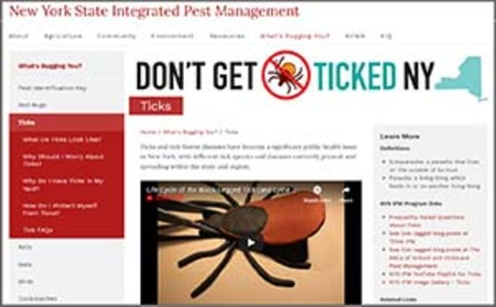"screenshot of NYS IPM page ""Don't Get Ticked"" 300px wide"