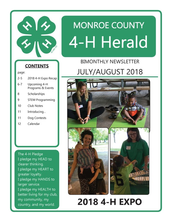 2018 July/August 4-H Newsletter p1
