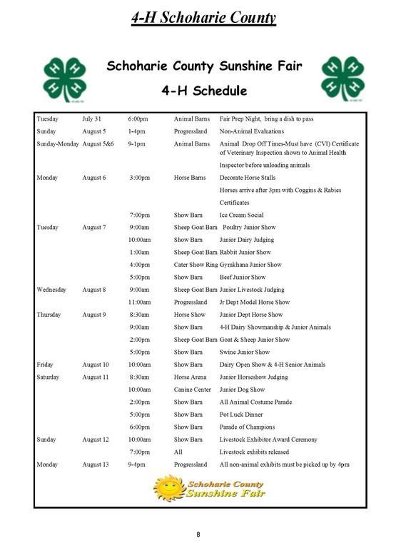4H Fair Schedule