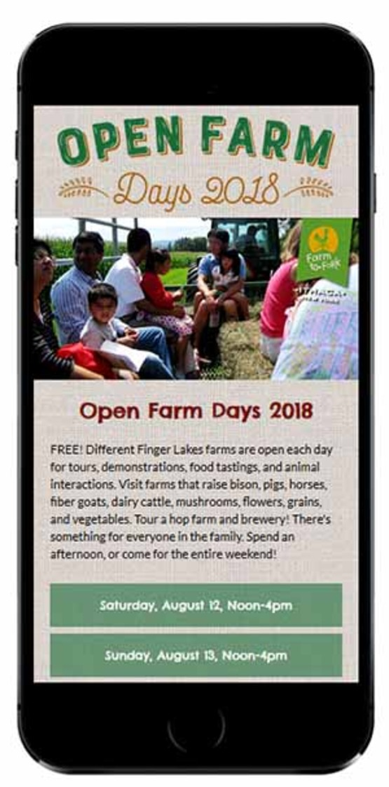 View of OpenFarmDays.org on smartphone