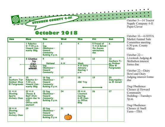 2018-2019-4-H Calendar