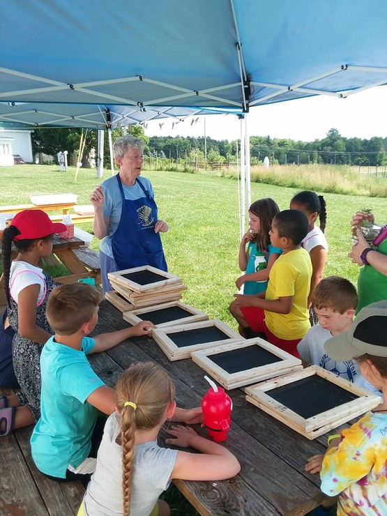Paper Making at Farm Day Camp