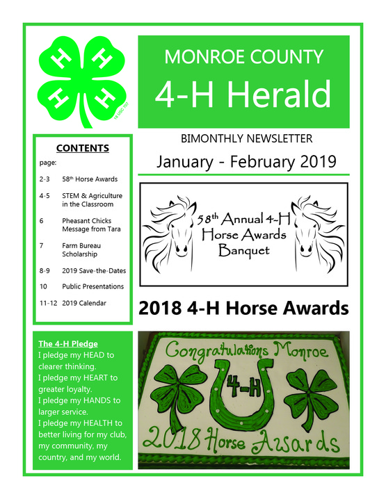 2019 Jan/Feb 4-H Newsletter