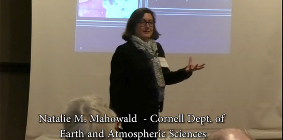 still from video of Natalie Mahowald speaking at 12/11/18 annual meeting