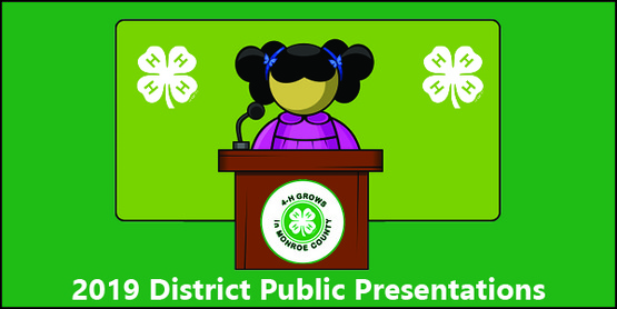2019 Finger Lakes District 4-H Public Presentations