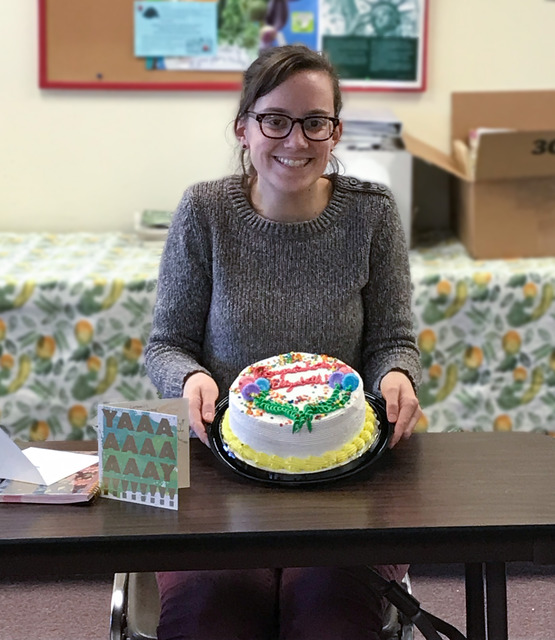 Elizabeth Hodgdon celebrating her PHD at CCE Office