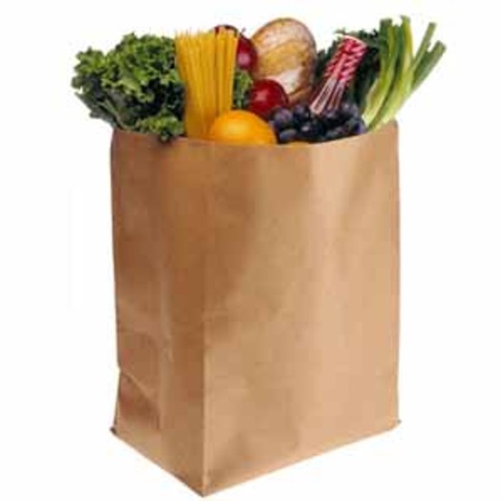 photo of a paper bag filled with groceries