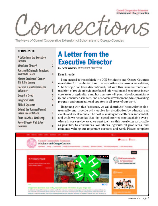 Cover page of the January/February 2018 Issue of Connections