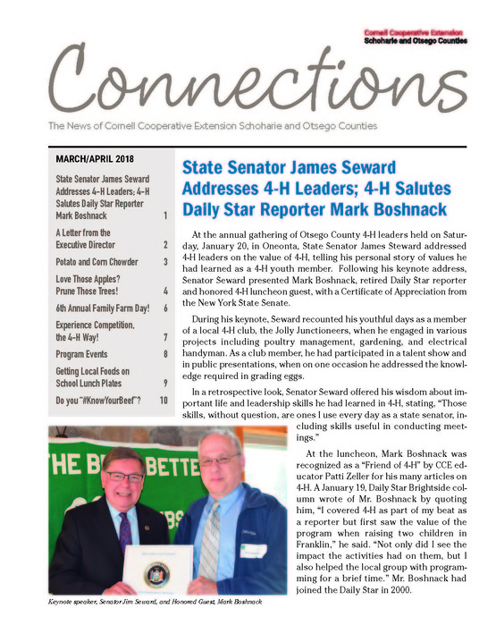 Cover page of the March/April 2018 issue of Connections