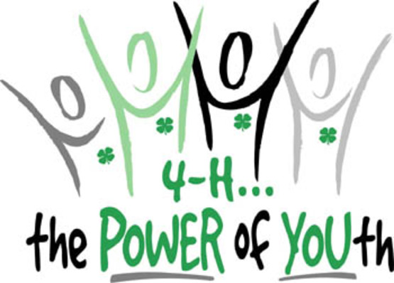 """4-H the power of youth"" outlines of people reaching upwards and stars"