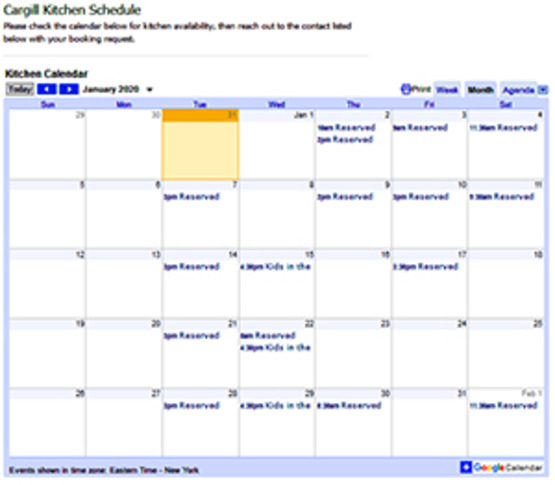 Visit our Kitchen Calendar page to see the scheduled bookings.