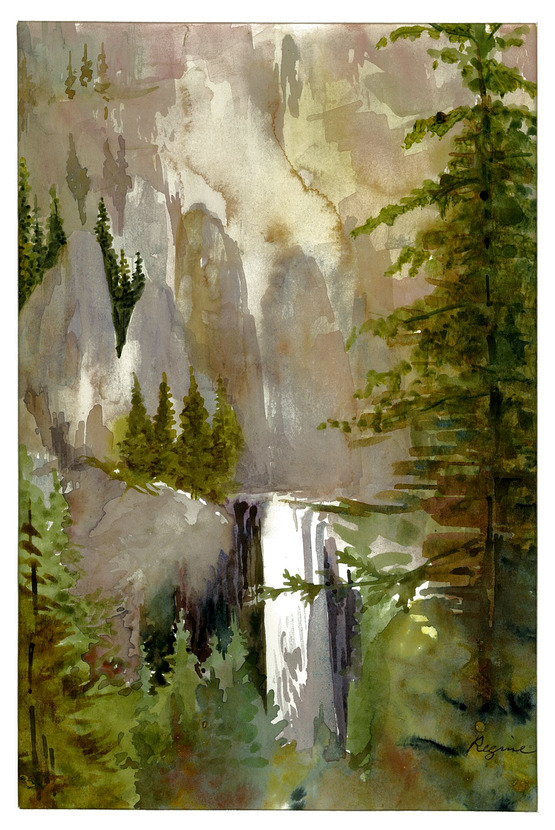 water color of a waterfall