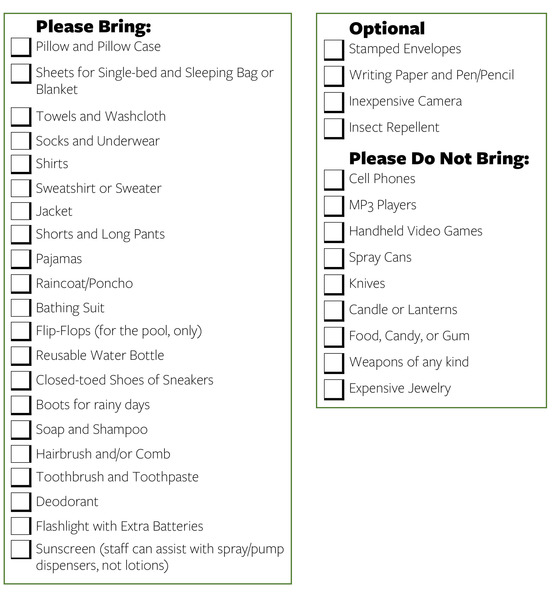 Packing List For Hidden Valley 4-H Camp