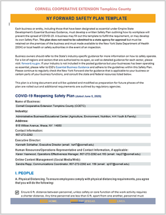 Read the Covid-19 NYS Reopening Safety Plan for CCE-Tompkins