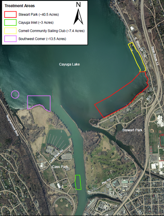 map of southern portion of Cayuga Lake near Stewart Park