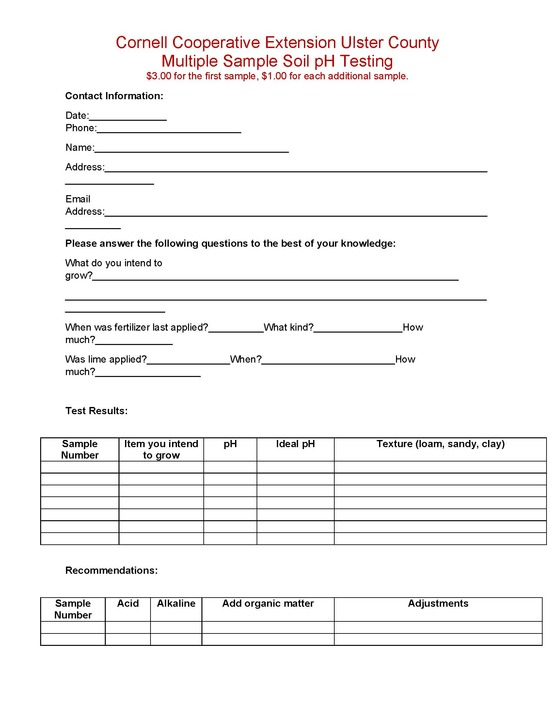 multiple soil sample form