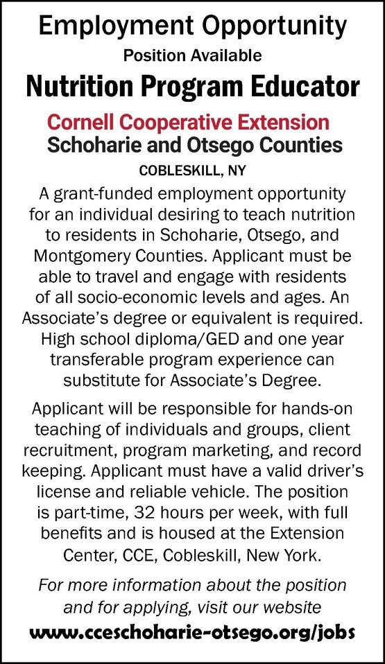 Nutrition Program Educator Classified Advertisement