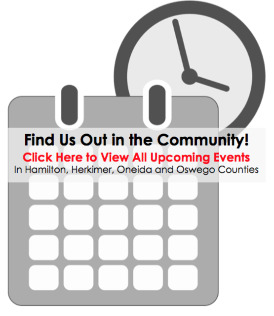 Find us in the community! Image has clip art of a calendar & a clock.
