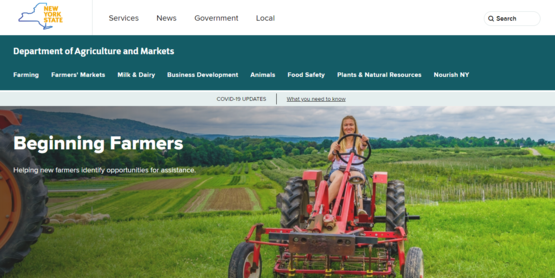 NY Ag and Markets Beginning Farmers web site