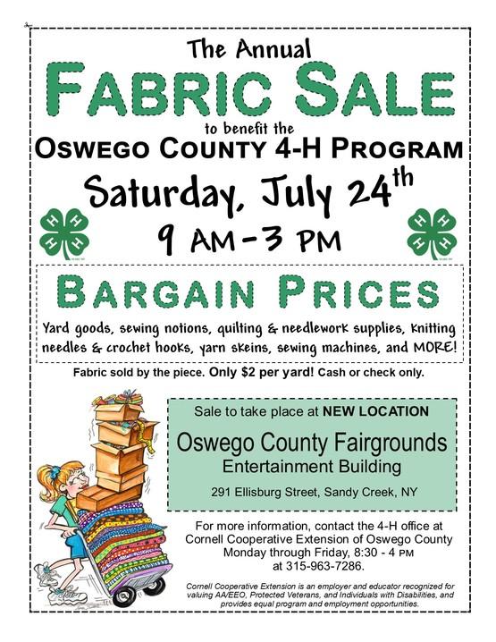 Oswego County 4-H Fabric Sale Fundraiser Flier