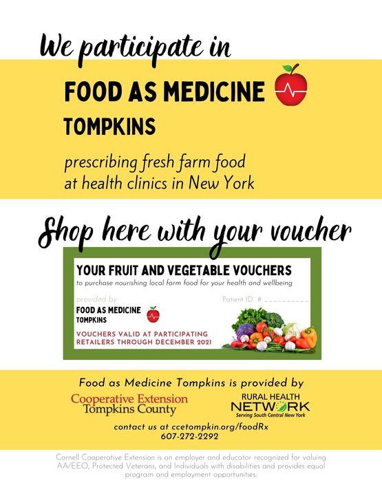 Market vendor sign for Food as Medicine Tompkins