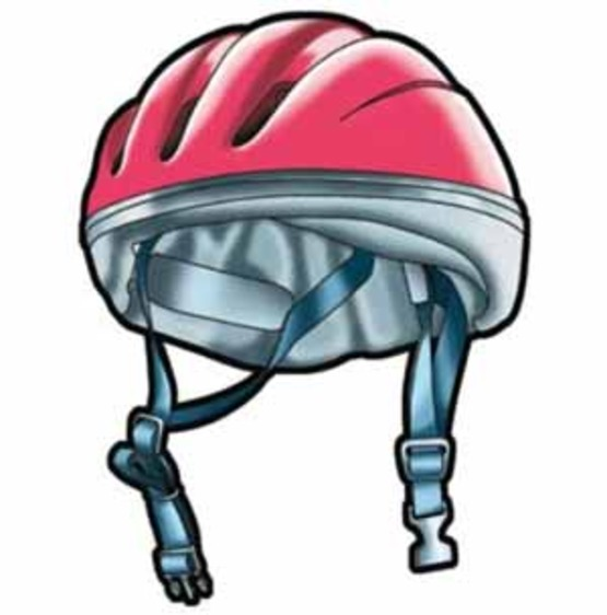 """Graphic of bike helmet from the NHTSA flier on """"Easy Steps for Properly Fitting a Bicycle Helmet"""""""