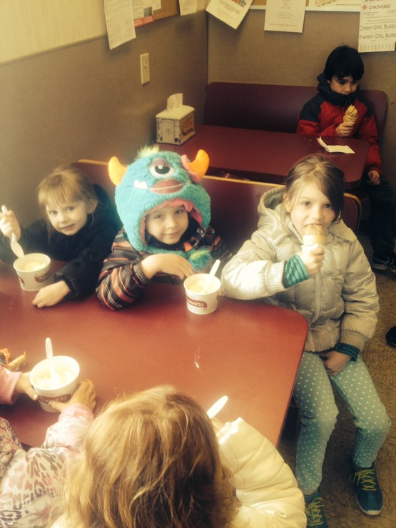 Bulldog Hour youth celebrate St. Patricks Day by taking a field trip to Stewart's for ice cream.