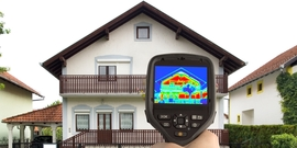 House being tested with thermal imaging camera, from Energy.gov