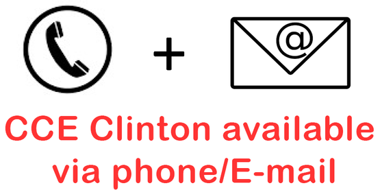 Phone clip art + E-mail clip art with the following message below. CCE Clinton available via phone/E-mail