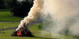Midsummer festival bonfire in Denmark; open burning; fire; smoke