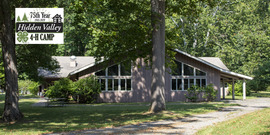 Hidden Valley 4-H Camp logo and dinning hall