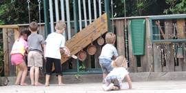 young children in the little farmers activity area