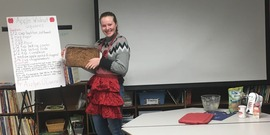 "4-H member Aizlyn O'Connell presented on ""How to Make Apple Walnut Squares."""