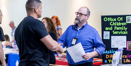 participants shaking hands at the 2018 Beyond the Box Networking & Job Fair