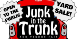 Junk In The Trunk Fundraiser. Image of car trunk.