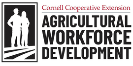 "logo with silhouette of farmers and words ""Cornell Cooperative Extension Agricultural Workforce Development"""