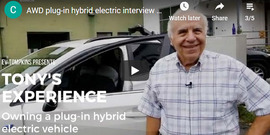 "Smiling man standing in front an electric vehicle, text:""Tony's Experience owning a Plug-in Hybrid Electric vehicle"""