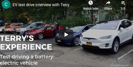 "electric vehicles in a parking lot; text ""Terry's Experience test driving a battery-electric vehicle"""