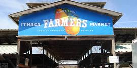 Ithaca Farmer's Market entrance sign