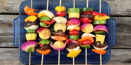 vegetable skewers ready to grill