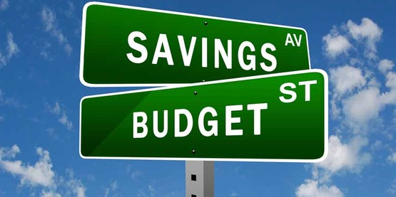 "Street sign for ""Savings"" and ""Budget"""
