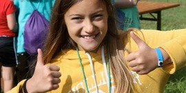 "camper gives the ""thumbs up"" at Camp Owahta 2013"