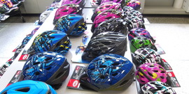 Bike helmets at Safety Fair