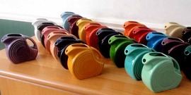 Fiestaware mini-disk pitchers; lead-glazed pottery