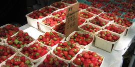 strawberries at farmers' market